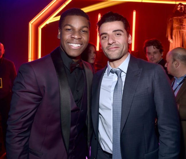 HOLLYWOOD, CA - DECEMBER 14: Actors John Boyega (L) and Oscar Isaac attend the after party for the World Premiere of ?Star Wars: The Force Awakens? on Hollywood Blvd on December 14, 2015 in Hollywood, California. (Photo by Alberto E. Rodriguez/Getty Images for Disney)