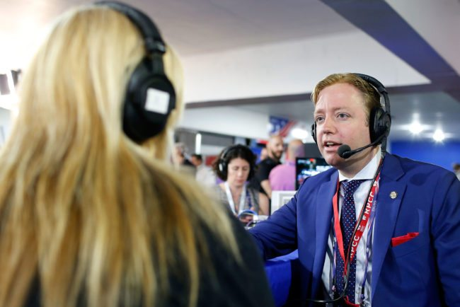 """CLEVELAND, OH - JULY 20: Gregory Angelo, President of the Log Cabin Republicans, is interviewed by Julie Mason, while appearing on """"The Press Pool"""" at Quicken Loans Arena on July 20, 2016 in Cleveland, Ohio. (Photo by Kirk Irwin/Getty Images for SiriusXM)"""
