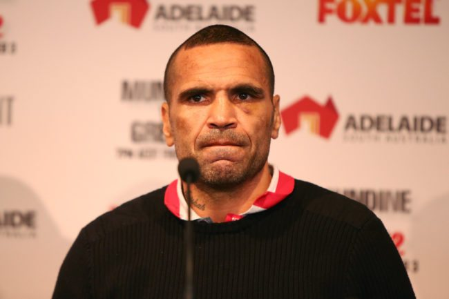 ADELAIDE, AUSTRALIA - FEBRUARY 01:  Anthony Mundine speaks to media during the official press conference on February 1, 2017 in Adelaide, Australia.  (Photo by Morne de Klerk/Getty Images)