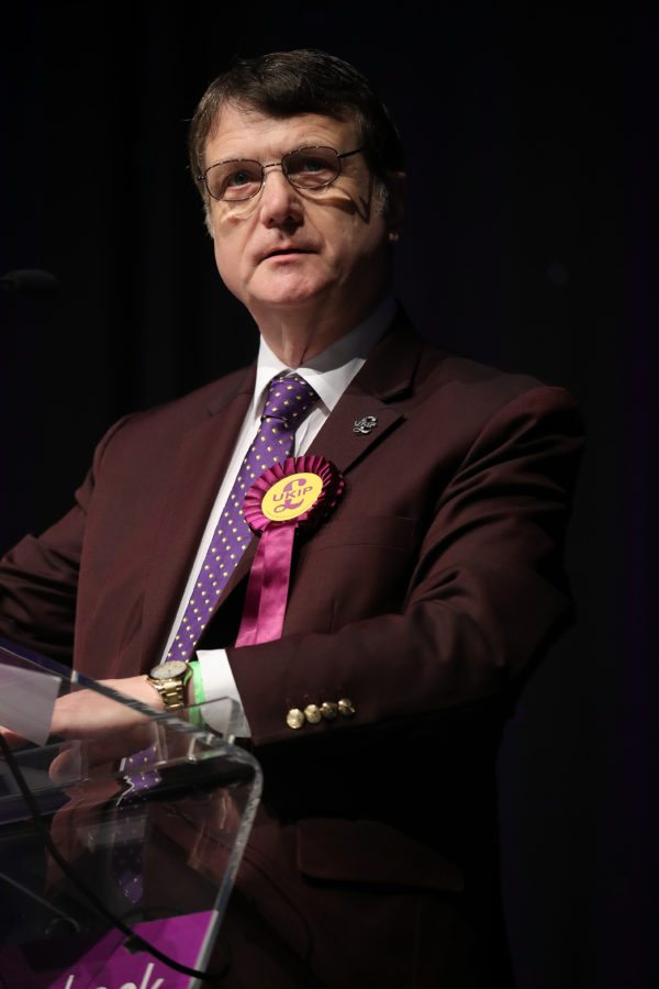 BOLTON, ENGLAND - FEBRUARY 17: Ukip Brexit spokesman Gerard Batten MEP addresses party members during the UKIP Annual Spring Conference at the Macron Stadium on February 17, 2017 in Bolton, England. The annual conference comes ahead of crucial by-elections for the party in Stoke-On-Trent and Copeland. (Photo by Christopher Furlong/Getty Images)