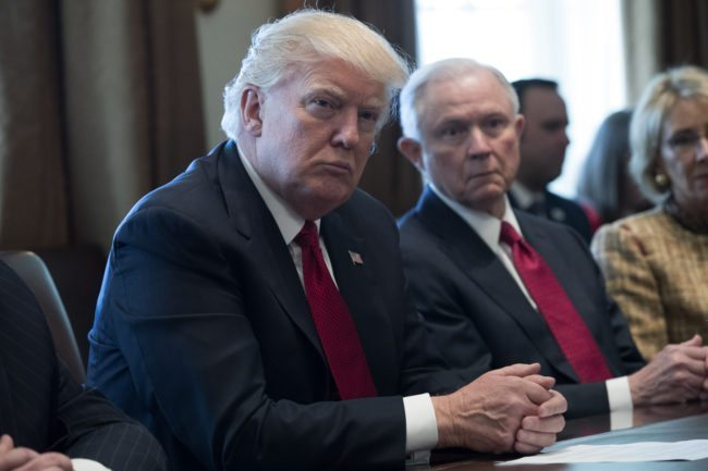 U.S. President Donald Trump and Attorney General Jeff Sessions (Photo by Shawn Thew-Pool/Getty Images)