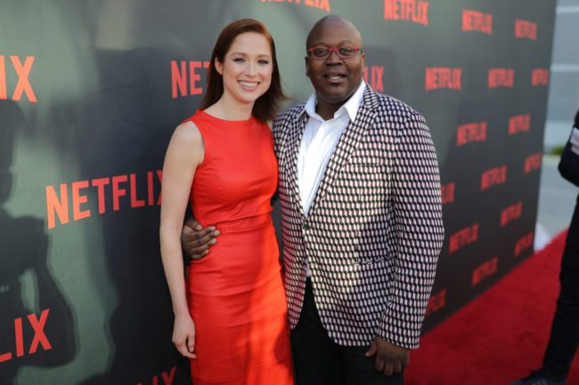 "NORTH HOLLYWOOD, CA - MAY 04: (L-R) Ellie Kemper and Tituss Burgess attend Netflix's ""Unbreakable Kimmy Schmidt"" for your consideration event red carpet at Saban Media Center on May 4, 2017 in North Hollywood, California. (Photo by Neilson Barnard/Getty Images)"