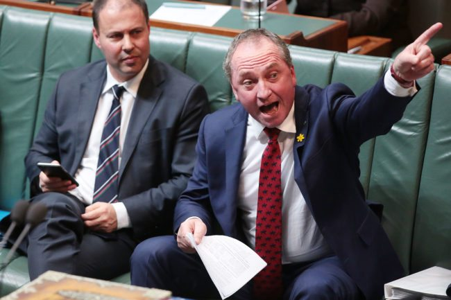 CANBERRA, AUSTRALIA - MAY 11: Deputy Prime Minister Barnaby Joyce during House of Representatives question time at Parliament House on May 11, 2017 in Canberra, Australia. The Turnbull Goverment's second budget has delivered additional funds to education, a plan to assist first home buyers, along with a crackdown on welfare.