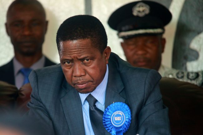 Zambian President Edgar Lungu attends the inauguration day of the Agriculture and Commercial fair on August 5, 2017 in Lusaka. Lungu invoked emergency powers last month, increasing police powers of arrest and detention, and blaming opposition parties for a string of arson attacks. / AFP PHOTO / DAWOOD SALIM (Photo credit should read DAWOOD SALIM/AFP/Getty Images)