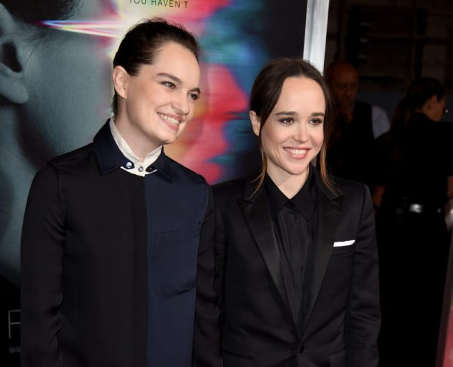 """LOS ANGELES, CA - SEPTEMBER 27:  Emma Portner (L) and actress Ellen Page arrive at the premiere of Columbia Pictures' """"Flatliners"""" at the Ace Theatre on September 27, 2017 in Los Angeles, California.  (Photo by Kevin Winter/Getty Images)"""
