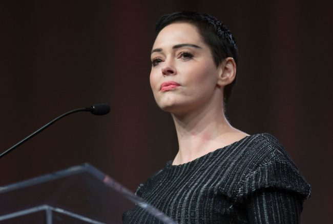 US actress Rose McGowan gives opening remarks to the audience at the Women's March / Women's Convention in Detroit, Michigan, on October 27, 2017. A stream of actress including Rose McGowan, models and ex-employees have come out, many anonymously, to accuse Hollywood producer Harvey Weinstein of sexual harassment and abuse dating as far back as the 1990s. / AFP PHOTO / RENA LAVERTY (Photo credit should read RENA LAVERTY/AFP/Getty Images)