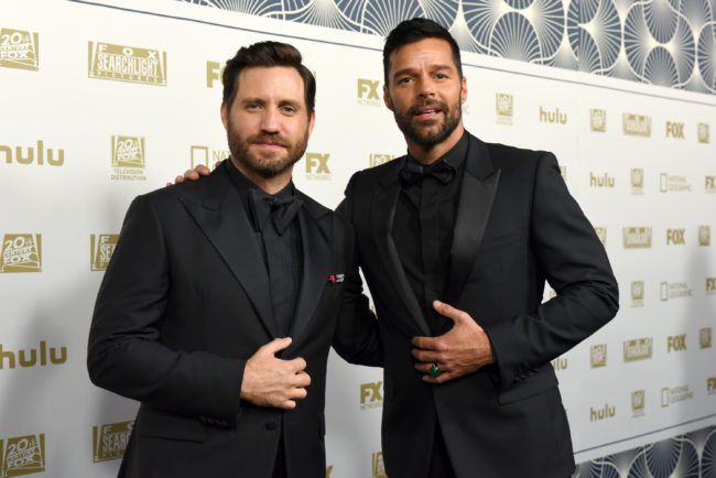 BEVERLY HILLS, CA - JANUARY 07: Actors Edgar Ramirez (L) and Ricky Martin attend FOX, FX and Hulu 2018 Golden Globe Awards After Party at The Beverly Hilton Hotel on January 7, 2018 in Beverly Hills, California. (Photo by Presley Ann/Getty Images)