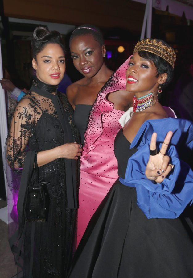 HOLLYWOOD, CA - JANUARY 29: (L-R) Actor Tessa Thompson, actor Danai Gurira and recording artist Janelle Monae at the Los Angeles World Premiere of Marvel Studios' BLACK PANTHER at Dolby Theatre on January 29, 2018 in Hollywood, California. (Photo by Jesse Grant/Getty Images for Disney)