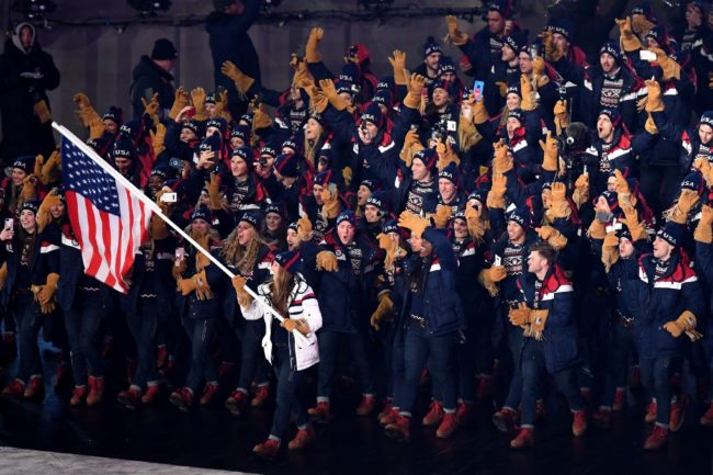 PYEONGCHANG-GUN, SOUTH KOREA - FEBRUARY 09: Flag bearer Erin Hamlin of the United States and teammates enter the stadium during the Opening Ceremony of the PyeongChang 2018 Winter Olympic Games at PyeongChang Olympic Stadium on February 9, 2018 in Pyeongchang-gun, South Korea. (Photo by Pool - Frank Fife/Getty Images)