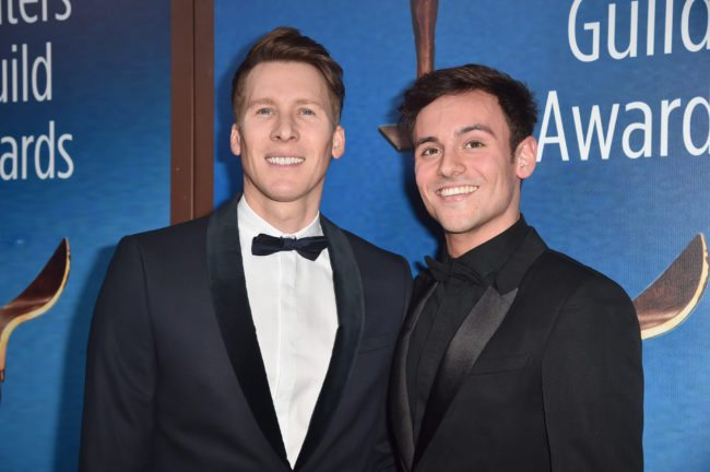 BEVERLY HILLS, CA - FEBRUARY 11: Dustin Lance Black and Tom Daley attends the 2018 Writers Guild Awards L.A. Ceremony at The Beverly Hilton Hotel on February 11, 2018 in Beverly Hills, California. (Photo by Alberto E. Rodriguez/Getty Images for 2018 Writers Guild Awards L.A. Ceremony )