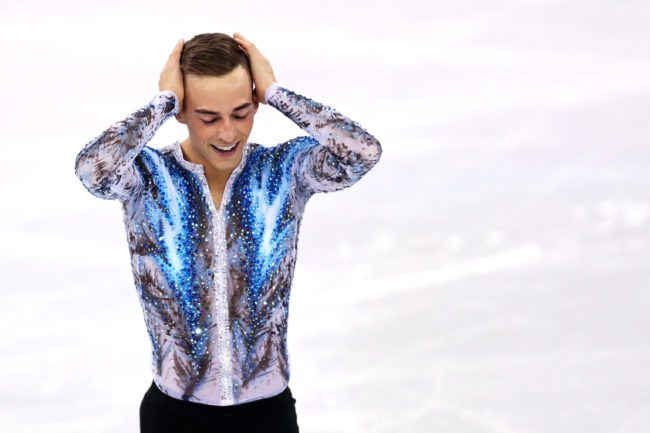 GANGNEUNG, SOUTH KOREA - FEBRUARY 12: Adam Rippon of the United States of America celebrates after competing in the Figure Skating Team Event Men's Single Free Skating on day three of the PyeongChang 2018 Winter Olympic Games at Gangneung Ice Arena on February 12, 2018 in Gangneung, South Korea. (Photo by Maddie Meyer/Getty Images)