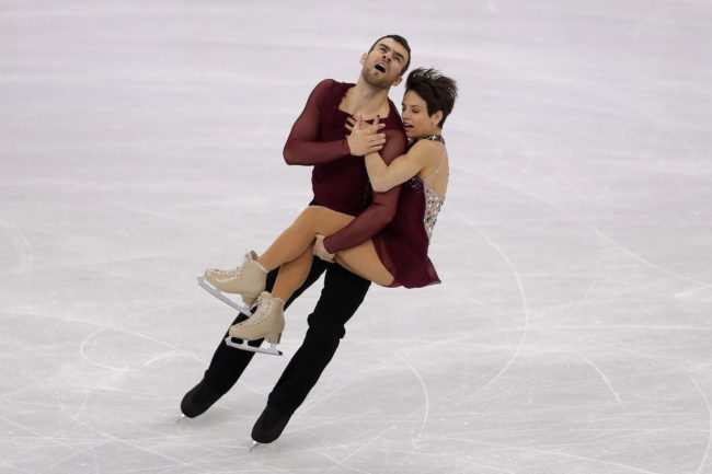 GANGNEUNG, SOUTH KOREA - FEBRUARY 11: Meagan Duhamel and Eric Radford of Canada compete in the Figure Skating Team Event ? Pairs Free Skating on day two of the PyeongChang 2018 Winter Olympic Games at Gangneung Ice Arena on February 11, 2018 in Gangneung, South Korea. (Photo by Richard Heathcote/Getty Images)
