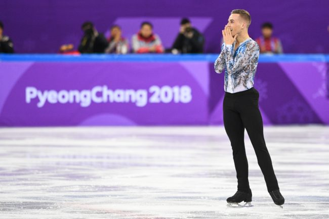 USA's Adam Rippon reacts after finishing his routine in the figure skating team event men's single skating free skating during the Pyeongchang 2018 Winter Olympic Games at the Gangneung Ice Arena in Gangneung on February 12, 2018. / AFP PHOTO / Roberto SCHMIDT (Photo credit should read ROBERTO SCHMIDT/AFP/Getty Images)