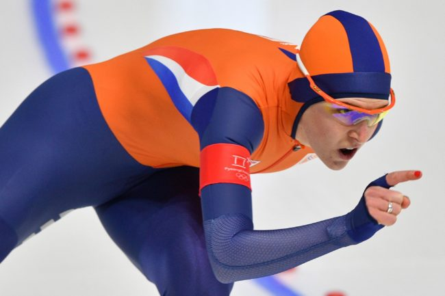 Netherlands' Ireen Wust competes in the women's 1,500m speed skating event during the Pyeongchang 2018 Winter Olympic Games at the Gangneung Oval in Gangneung on February 12, 2018. / AFP PHOTO / Mladen ANTONOV (Photo credit should read MLADEN ANTONOV/AFP/Getty Images)