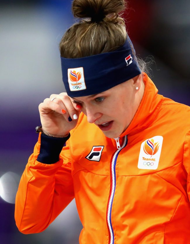 GANGNEUNG, SOUTH KOREA - FEBRUARY 12:  Ireen Wust of The Netherlands reacts after winning the gold medal during the Ladies 1,500m Long Track Speed Skating final on day three of the PyeongChang 2018 Winter Olympic Games at Gangneung Oval on February 12, 2018 in Gangneung, South Korea.  (Photo by Dean Mouhtaropoulos/Getty Images)