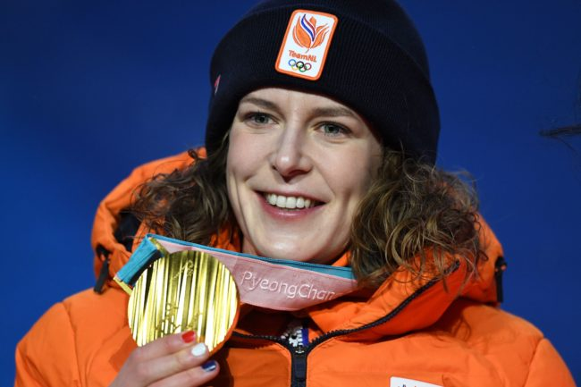 Netherlands' gold medallist Ireen Wust poses on the podium during the medal ceremony for the speed skating women's 1500m at the Pyeongchang Medals Plaza during the Pyeongchang 2018 Winter Olympic Games in Pyeongchang on February 13, 2018. / AFP PHOTO / Kirill KUDRYAVTSEV        (Photo credit should read KIRILL KUDRYAVTSEV/AFP/Getty Images)