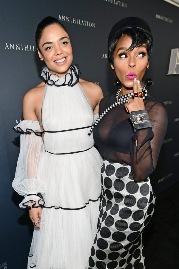WESTWOOD, CA - FEBRUARY 13:  Tessa Thompson (L) and Janelle Monae attend the premiere of Paramount Pictures' 'Annihilation' at Regency Village Theatre on February 13, 2018 in Westwood, California.  (Photo by Emma McIntyre/Getty Images)