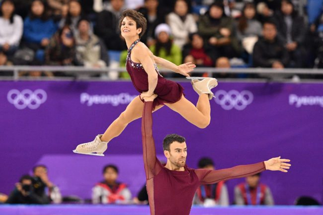 Canada's Meagan Duhamel and Canada's Eric Radford compete in the pair skating free skating of the figure skating event during the Pyeongchang 2018 Winter Olympic Games at the Gangneung Ice Arena in Gangneung on February 15, 2018.  / AFP PHOTO / Mladen ANTONOV        (Photo credit should read MLADEN ANTONOV/AFP/Getty Images)