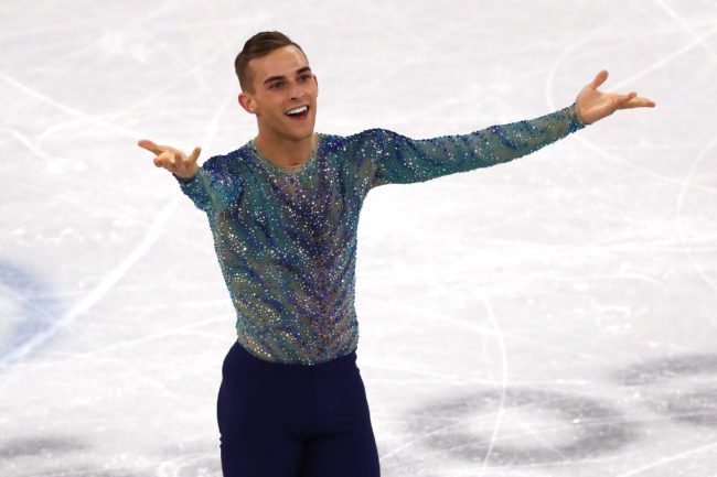 GANGNEUNG, SOUTH KOREA - FEBRUARY 17: Adam Rippon of the United States competes during the Men's Single Free Program on day eight of the PyeongChang 2018 Winter Olympic Games at Gangneung Ice Arena on February 17, 2018 in Gangneung, South Korea. (Photo by Dean Mouhtaropoulos/Getty Images)