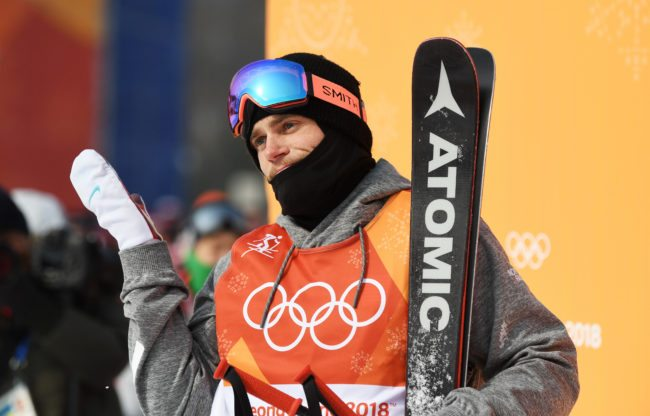 PYEONGCHANG-GUN, SOUTH KOREA - FEBRUARY 18:  Gus Kenworthy of the United States reacts during the Freestyle Skiing Men's Ski Slopestyle Final on day nine of the PyeongChang 2018 Winter Olympic Games at Phoenix Snow Park on February 18, 2018 in Pyeongchang-gun, South Korea.  (Photo by David Ramos/Getty Images)