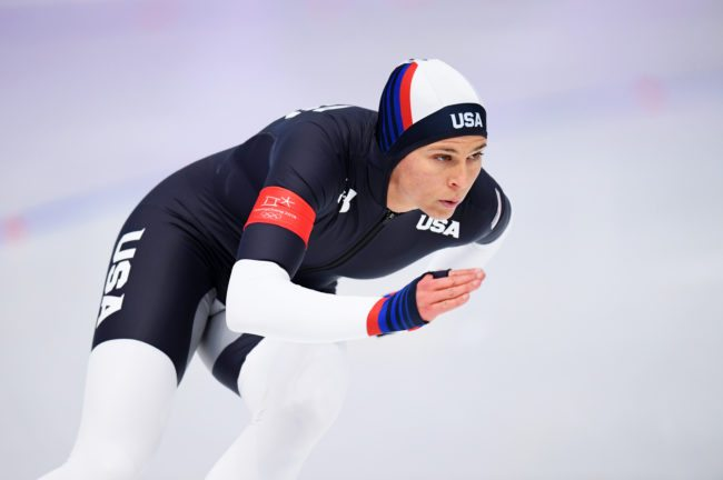 GANGNEUNG, SOUTH KOREA - FEBRUARY 18:  Brittany Bowe of the United States competes during the Ladies' 500m Individual Speed Skating Final on day nine of the PyeongChang 2018 Winter Olympic Games at Gangneung Oval on February 18, 2018 in Gangneung, South Korea.  (Photo by Harry How/Getty Images)