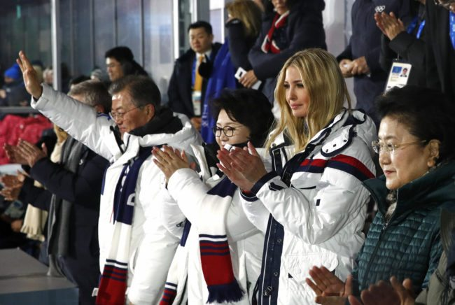 (From L) South Korean President Moon Jae-in, first lady Kim Jung-sook, US President's daughter and senior White House adviser Ivanka Trump and Chinese Vice Premier Liu Yandong applaud as athletes from North and South Korea walk together during the closing ceremony of the Pyeongchang 2018 Winter Olympic Games at the Pyeongchang Stadium on February 25, 2018. / AFP PHOTO / POOL / Patrick Semansky (Photo credit should read PATRICK SEMANSKY/AFP/Getty Images)