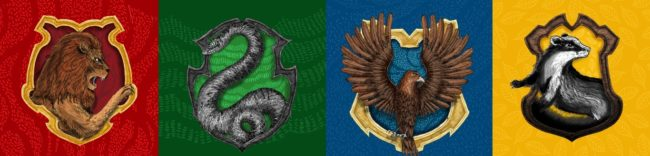 Gryffindor, Hufflepuff, Ravenclaw and Slytherin signs
