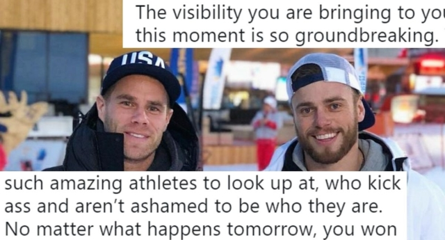 Olympian Gus Kenworthy kisses boyfriend Matt Wilkas on live TV