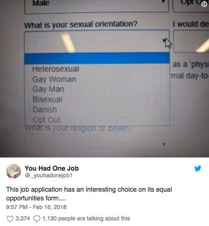 Job Application Asks If Candidates Are Straight Gay Bisexual Or