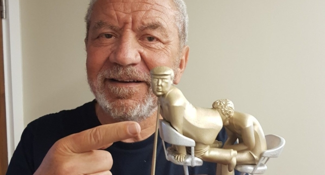 Lord Sugar showed off the paperweight