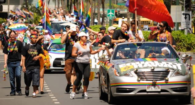 Pride marchers in Honolulu, Hawaii. (Creative Commons photo/Daniel Ramirez)