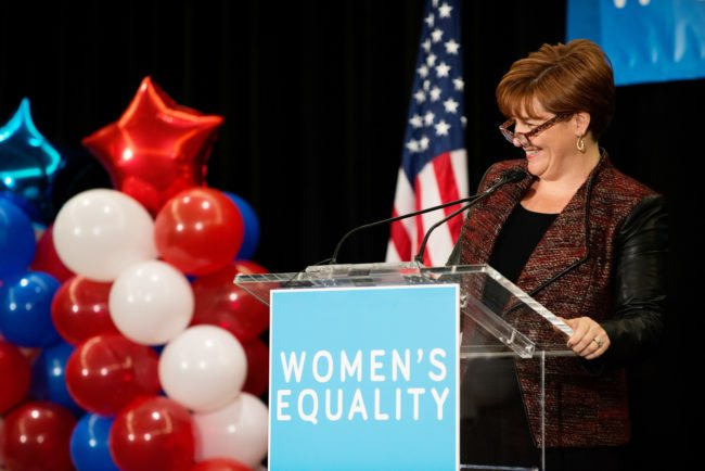"NEW YORK, NY - OCTOBER 23: Former Speaker of the New York City Council Christine Quinn announces the agenda during a ""Women for Cuomo"" campaign event on October 23, 2014 at the Grand Hyatt Hotel in New York, NY. Incumbent New York Governor Andrew Cuomo was joined by Former U.S. Secretary of State and U.S. Sen. Hillary Rodham Clinton who, citing his record on women's rights, endorsed him in the upcoming gubernatorial election on November 4, 2014. U.S. Rep. Kathy Hochul, the Democratic nominee for New York Lt. Gov., also spoke at the event. (Photo by Bryan Thomas/Getty Images)"