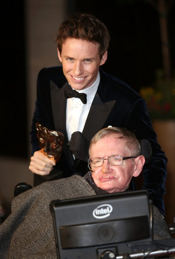 LONDON, ENGLAND - FEBRUARY 08: Eddie Redmayne and Professor Stephen Hawking attend the after party for the EE British Academy Film Awards at The Grosvenor House Hotel on February 8, 2015 in London, England. (Photo by Tim P. Whitby/Getty Images)