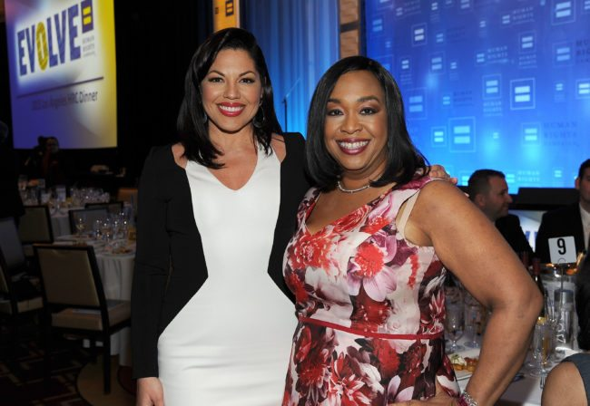 LOS ANGELES, CA - MARCH 14:  Actress Sara Ramirez (L) and Honoree Shonda Rhimes attend the Human Rights Campaign Los Angeles Gala 2015  at JW Marriott Los Angeles at L.A. LIVE on March 14, 2015 in Los Angeles, California.  (Photo by Angela Weiss/Getty Images)
