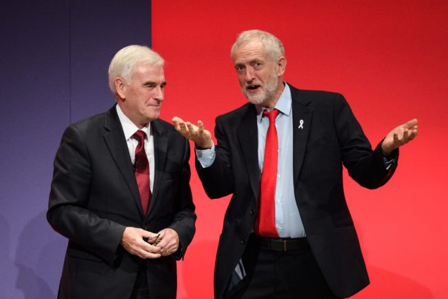 Shadow Chancellor John McDonnell and Labour Party leader Jeremy Corbyn (Leon Neal/Getty Images)