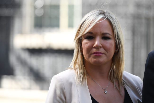 LONDON, ENGLAND - JUNE 15: Michelle O'Neill, leader of Sinn Féin speaks to the media outside 10 Downing Street on June 15, 2017 in London, England. Prime Minister Theresa May held a series of meetings with the main Northern Ireland political parties today to allay mounting concerns over a government deal with the DUP in the wake of the UK general election. (Photo by Chris J Ratcliffe/Getty Images)