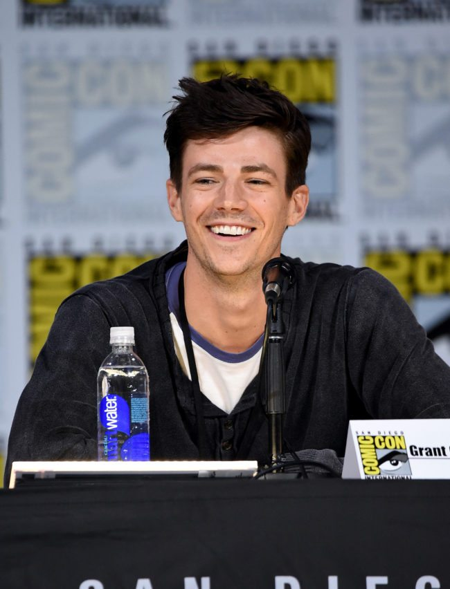 "SAN DIEGO, CA - JULY 22: Actor Grant Gustin attends the ""The Flash"" Video Presentation And Q+A during Comic-Con International 2017 at San Diego Convention Center on July 22, 2017 in San Diego, California. (Photo by Mike Coppola/Getty Images)"