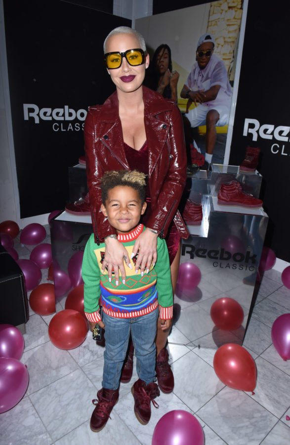 LOS ANGELES, CA - SEPTEMBER 30:  Sebastian Taylor Thomaz and Amber Rose attend Reebok Classic x Amber Rose Launch Event at Shoe Palace on September 30, 2017 in Los Angeles, California.  (Photo by Vivien Killilea/Getty Images for Reebok)