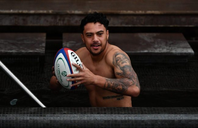 Denny Solomona of England looks on during a recovery session at the Hilton Vilamoura on November 2, 2017 in Vilamoura, Portugal. (Photo by Dan Mullan/Getty Images)