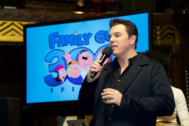 "LOS ANGELES, CA - JANUARY 10: Seth MacFarlane speaks at the Fox Celebrates 300th Episode Of ""Family Guy"" at Cicada on January 10, 2018 in Los Angeles, California. (Photo by Earl Gibson III/Getty Images)"
