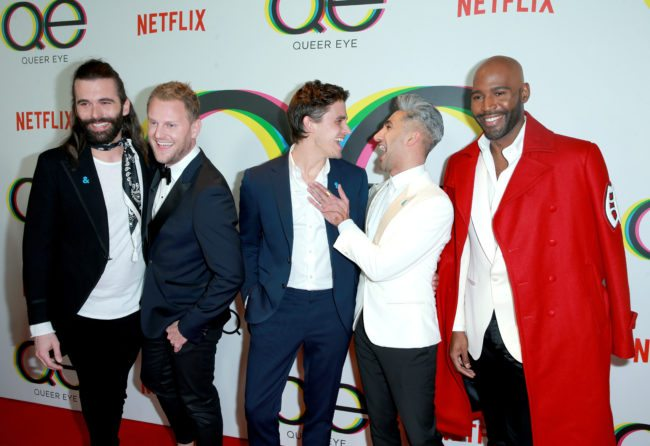 WEST HOLLYWOOD, CA - FEBRUARY 07: (L-R) Jonathan Van Ness, Bobby Berk, Antoni Porowski, Tan France, and Karamo Brown attend Netflix's Queer Eye premiere screening and after party on February 7, 2018 in West Hollywood, California. (Photo by Rich Fury/Getty Images for Netflix)