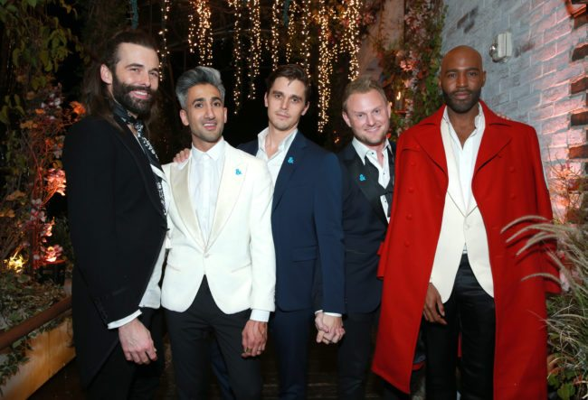 WEST HOLLYWOOD, CA - FEBRUARY 07: (L-R) Jonathan Van Ness, Tan France, Antoni Porowski, Bobby Berk, and Karamo Brown attend Netflix's Queer Eye premiere screening and after party on February 7, 2018 in West Hollywood, California.  (Photo by Rich Fury/Getty Images for Netflix)