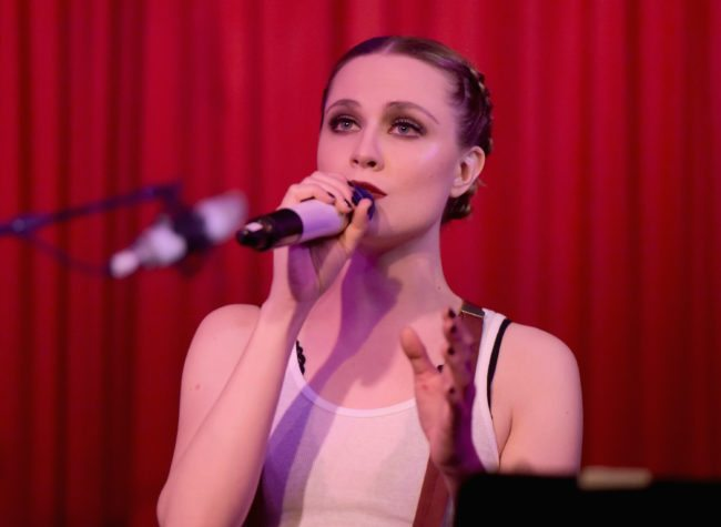 HOLLYWOOD, CA - FEBRUARY 15: Actress/musician Evan Rachel Wood performs at The Hotel Cafe on February 15, 2018 in Hollywood, California. (Photo by Tara Ziemba/Getty Images)
