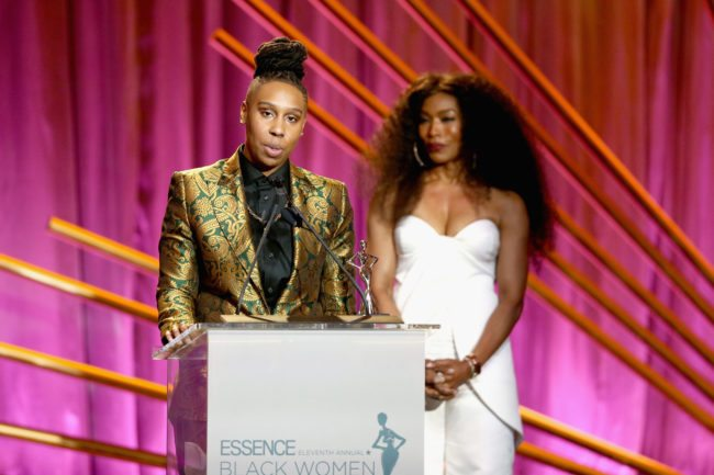 BEVERLY HILLS, CA - MARCH 01: Honoree Lena Waithe (L) and Presenter Angela Bassett speak onstage during the 2018 Essence Black Women In Hollywood Oscars Luncheon at Regent Beverly Wilshire Hotel on March 1, 2018 in Beverly Hills, California. (Photo by Rich Polk/Getty Images for Essence)