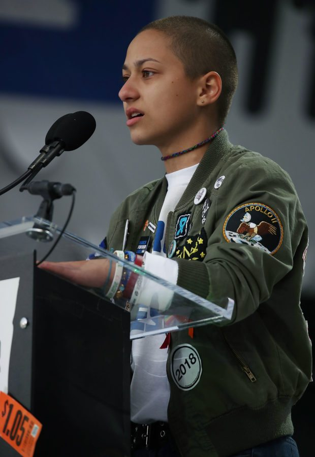 WASHINGTON, DC - MARCH 24:  Marjory Stoneman Douglas High School student Emma Gonzalez speaks during the March for Our Lives rally on March 24, 2018 in Washington, DC. More than 800 March for Our Lives events, organized by survivors of the Parkland, Florida school shooting on February 14 that left 17 dead, are taking place around the world to call for legislative action to address school safety and gun violence.  (Photo by Mark Wilson/Getty Images)