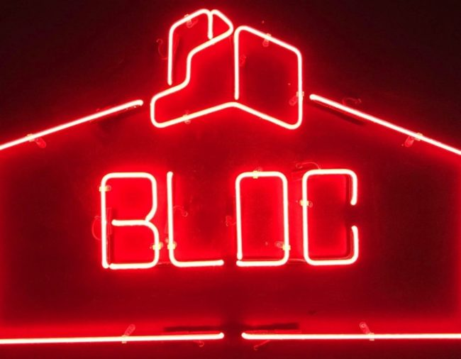 Bloc South sign, men only gay bar club