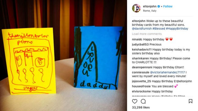 Sir elton johns sons made their dad the sweetest 71st birthday one of the cards refers to the singers million dollar piano concert residency while the other says love you daddy bookmarktalkfo