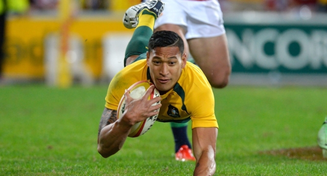 Israel Folau of the Wallabies (Photo by Bradley Kanaris/Getty Images)