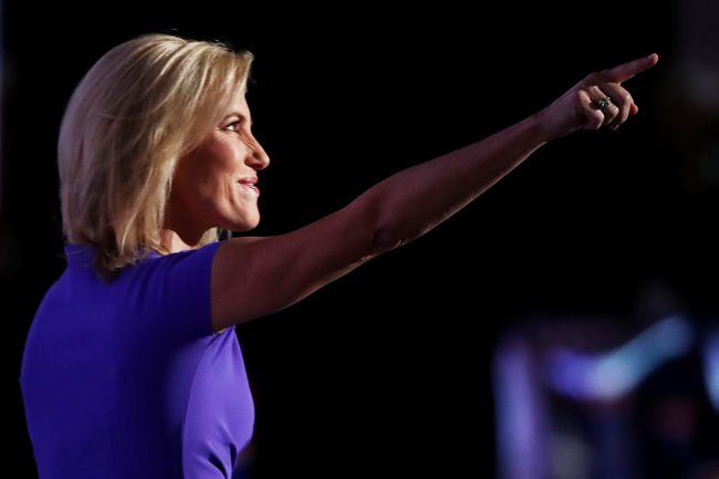 CLEVELAND, OH - JULY 20: Political talk radio host Laura Ingraham gestures to the crowd as she delivers a speech on the third day of the Republican National Convention on July 20, 2016 at the Quicken Loans Arena in Cleveland, Ohio. Republican presidential candidate Donald Trump received the number of votes needed to secure the party's nomination. An estimated 50,000 people are expected in Cleveland, including hundreds of protesters and members of the media. The four-day Republican National Convention kicked off on July 18. (Photo by Win McNamee/Getty Images)