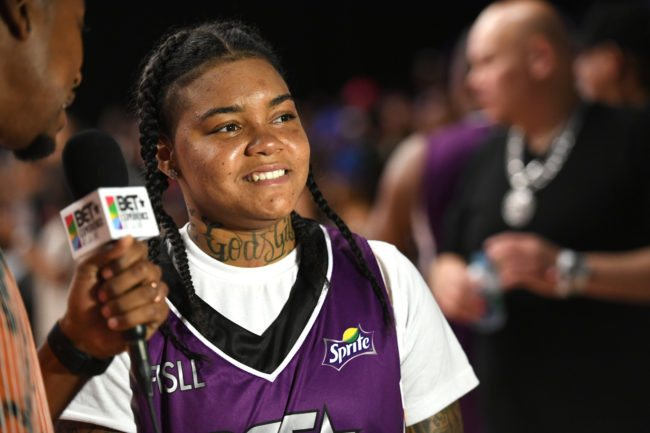 LOS ANGELES, CA - JUNE 24: Young M.A at the Celebrity Basketball Game, presented by Sprite and State Farm, during the 2017 BET Experience, at Los Angeles Convention Center on June 24, 2017 in Los Angeles, California. (Photo by Paras Griffin/Getty Images for BET)